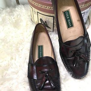 Cole Haan Pinch Tassel Leather Loafers Sz 11 Burg